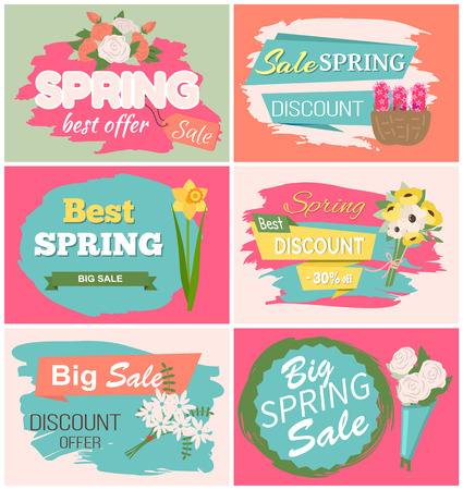 Spring sale, discount and best offer, label with rose, lilac and violet, daisy bouquet. Advertisement decorated by flowers, greeting for ladies vector. Early spring and summer flower for wedding