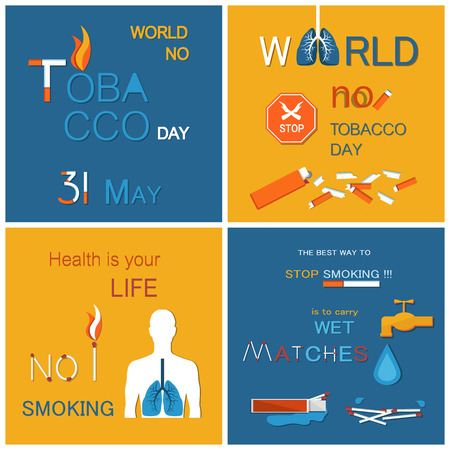 No tobacco day health is your life not smoking. Best way to stop harmful habit is to carry wet matches. Posters dedicated to refuse from nicotine usage vector
