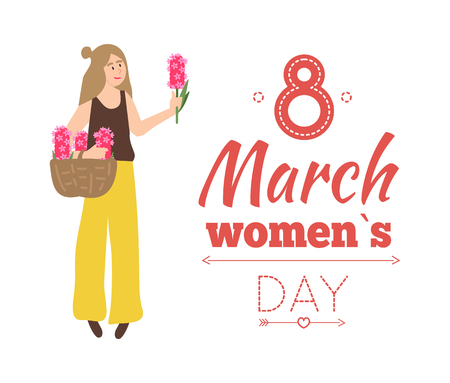 Pretty girl holding basket full of pink flowers. Vector 8 March spring holiday lettering congrats, happy female, International womens day greeting card