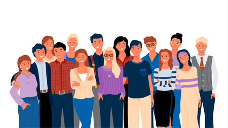 Crowd posing together, group portrait view, smiling people in casual clothes, hugging men and women. Embracing friends or relatives, meeting vector  イラスト・ベクター素材