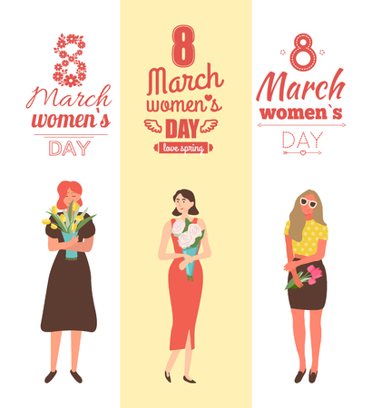 Womens day with girls holding spring bouquets and smiling. Emotional people girls with roses and pink or yellow tulips, 8 March posters vector with lettering
