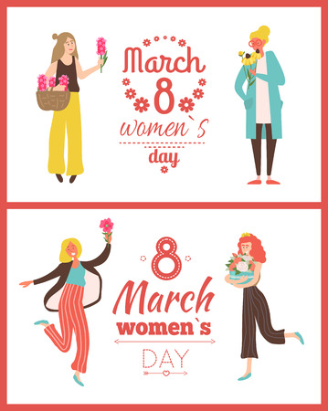 Womens international day, 8 March, spring holiday greeting card decorated by ladies holding lilac, violets and roses, happy girls with flowers vector Illustration