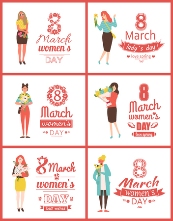 Greeting postcards on 8 March with happy women with flowers as gifts isolated. Vector lettering greetings with international holiday and cartoon ladies