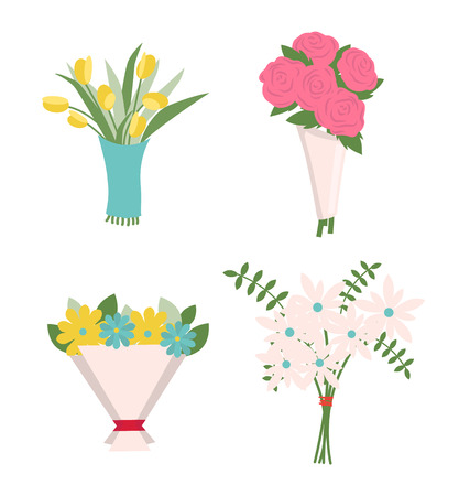 Flowers in wrapping vector, decoration isolated icons set. Tulips and roses in paper tied with red ribbon, green fern and foliage, rosebud present