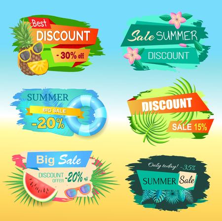 Best discount labels with pineapple, summer sale stickers 20, 30 percent off. Pineapple and watermelon, lifebuoy and sunglasses, palm tree leaves vector tags Ilustração