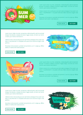 Summer sale offers set of poster with text sample. Lifeline and lifebuoy with flowers and tropical leaves. Surfboard and game ball propositions vector Stock Vector - 124750673