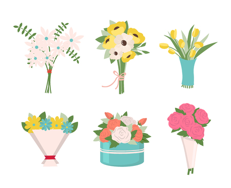 Pink roses put in container vector, isolated icons set, tulips in wrapping, tied together. Filling of bouquets, foliage and greenery leaves, fern. Early spring and summer flower for wedding