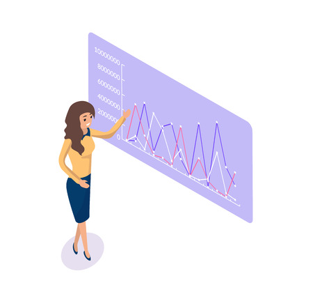 Businesswoman giving presentation vector. Board with infographics and infocharts, flowcharts with information about project, explanation of presenter