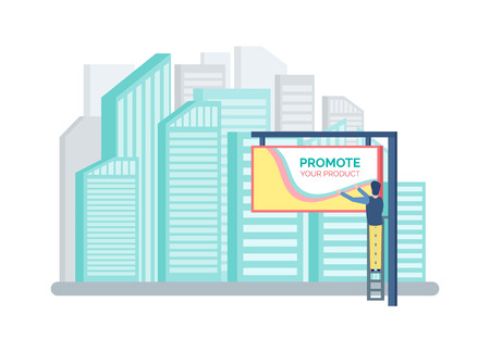 Cityscape with tall buildings vector, skyscraper modern offices. Advertising column board, painting person on ladder working. Metropolitan with marketing Vector Illustration