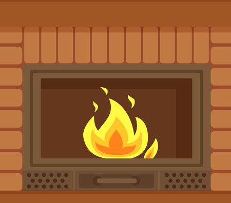 Fireplace with metal frame, construction made of brick vector. Flames in home bonfire, heating decoration of home interior made of fireproof bricks, closeup
