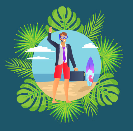 Distant work, man wearing suit vector. Freelancer in diving mask, surfing board, leaves of monstera and palm tree. Person holding briefcase on beach