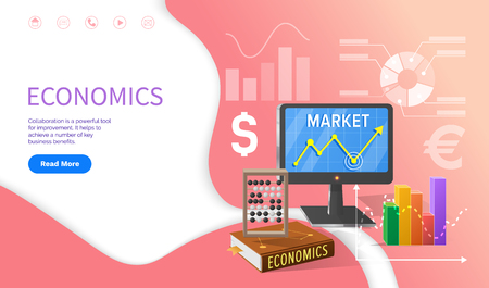 Economics school discipline, university studies vector. Computer with growing chart results, calculation of money currencies, textbooks with data
