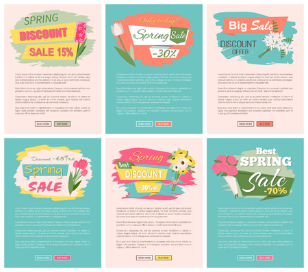 Sale, discount and best offer, label for springtime promotion and advertising, daisy bouquet. Advertisement decorated by flowers, greeting for ladies vector. Website with links buy and read now Illustration