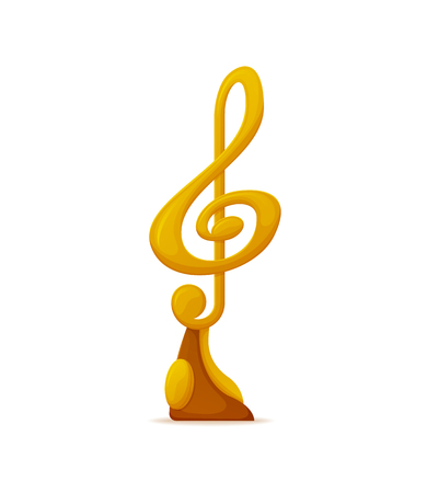 Music award vector, gold note, nomination trophy isolated icon. Winners musical reward, contestant for best song, musical ceremony triumph sign, prize Illustration