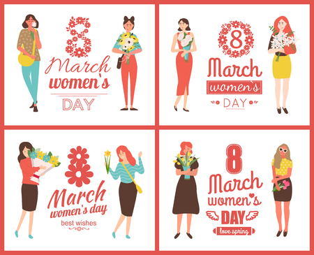 International womens day, 8 March card decorated by girls with flowers rose, tulips or daisies, violets bouquets. Love spring, best wishes greeting vector