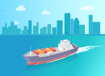 Le cargo laisse des traces dans la mer ou l'océan, navire maritime. Bateau de transport plein de conteneurs exportant des marchandises, expédiant et livrant sur fond de gratte-ciel