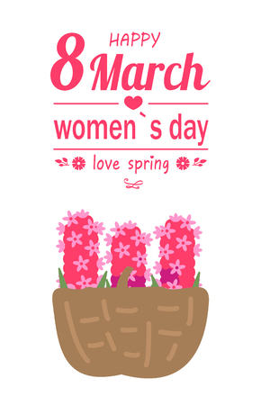 Happy 8 March, womens international day, love spring greeting card decorated by basket of pink lilac. Greeting for ladies with bouquet of flowers vector