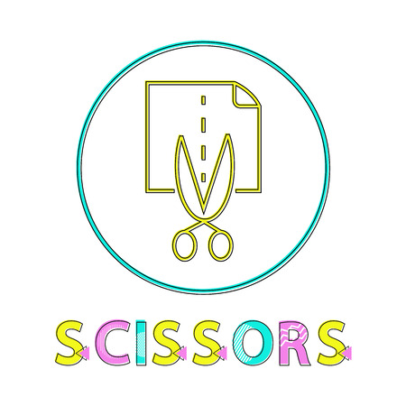 Scissors cutting page icon in circle. Stainless object sharp blades separating paper on pieces. Dotted line for straight division isolated on vector