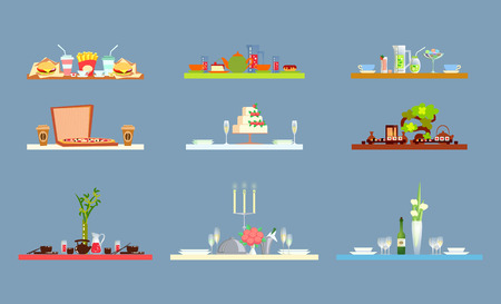 Table serving with ceramic, glass dishes and drinks, dessert and fast food, cups and bottles. Set of boards decorated by plants and kitchen glassware vector