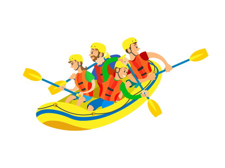 Sport activity, people sitting in yellow rubber boat, man and woman wearing helmet and life vest, rowing oars. Extreme activity or kayaking vector Illustration
