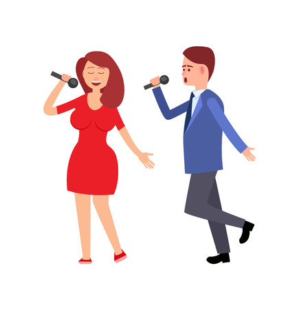 Woman and man singing song with microphone flat style isolated. Concert and couple of artists in casual clothes, performance girl and boy musicians vector Standard-Bild - 124735012
