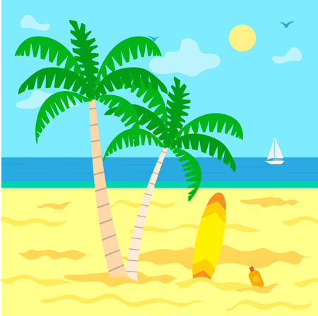 Summer holidays by sea vector, plage with hot sand. Sunshine of warm day, green palm tree with foliage, surfing board and sailing boat on water surface