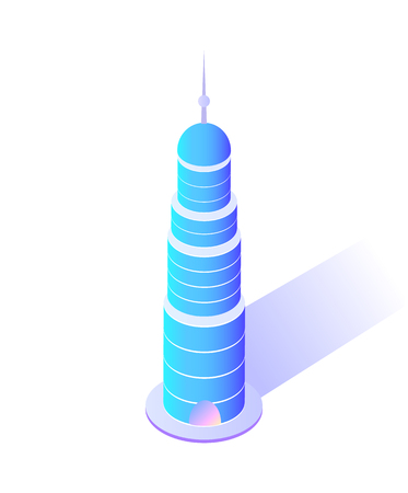 Skyscraper with sharp top modern city architecture vector. Isolated icon of building circular shape of construction of steel and concrete town center