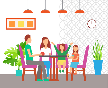 Cafe interior design, family eating out at table vector. Cafeteria furniture, chairs and indoor plants, lamp and picture, wall clock, drinking tea
