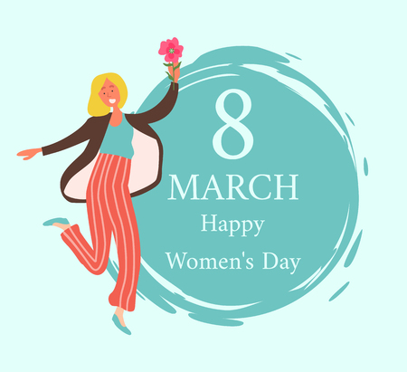Woman with pink flower isolated blonde girl and female character in cartoon style smiling. Greetings with International 8 March holiday, vector Standard-Bild - 124735019