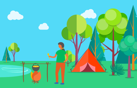 Woman ooking soup vector, camping outdoors in summer. Tent and bonfire for making food, foliage of trees, pond lake with clear water, relaxation in forest