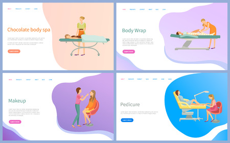 Beauty procedure web pages online appointment order vector. Chocolate body spa and wrap, makeup and pedicure, salon masters and clients, table for treatment Illustration
