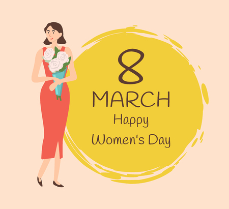8 march greeting, female happiness, girl holding bouquet vector. Woman wearing elegant clothes, person standing with white roses and round yellow painted circle Çizim