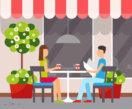 Cafe facade or summer terrace, couple in cafeteria at table vector. Woman and man drinking coffee and newspaper under tent, decorative plants and window 일러스트