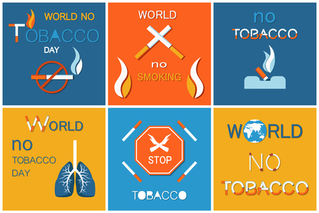 World no tobacco day vector promotion to stop smoking all over Earth, lighter with fire. Poster with lightened cigarette, globesymbol, cartography map