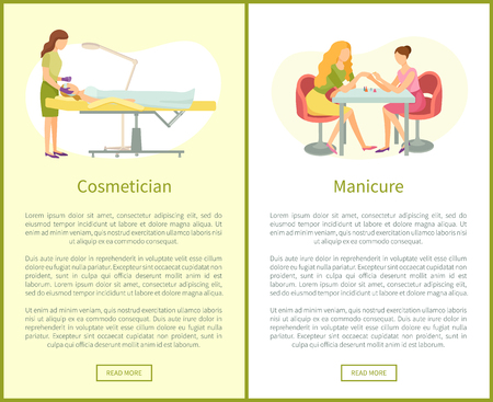 Makeup visagiste working with clients face using brush. Manicure manicurist polishing nails vector web posters with text. Hands care and brushing face Illustration
