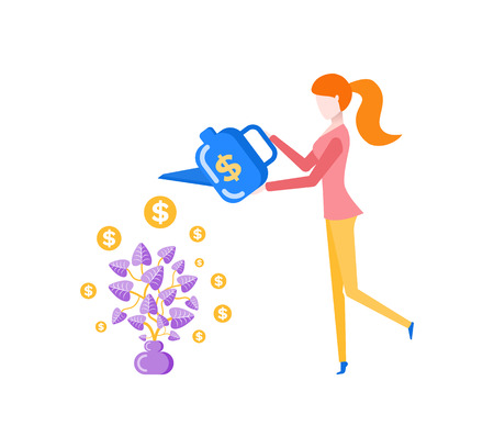 Investments and business nourishing vector. Woman holding watering can with dollar sign, with income growing. Gold american dollars coins on leaves