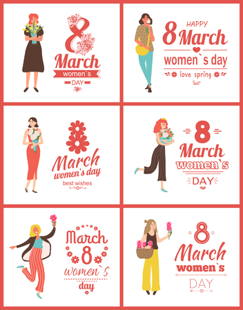Woman holding flowers vector, poster with greeting on international holiday. Lady holding box with roses, tulips and hyacinth flora in woven basket. 8 March set Illustration