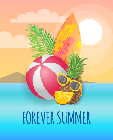 Forever summer beach party banner vector placard. Whole pineapple in sun glasses and inflatable ball, surfboard and palm leaves, isolated on landscape Illustration