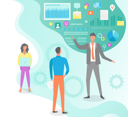 People listening to boss vector, social media icons, infographics and visualized data. Ceo manager, management basics, video and gear in flat style