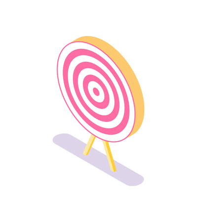 Target, vector isolated icon. Accuracy concept, dartboard. Business solutions symbol, efficiency and bullseye in red and white, circle targeting