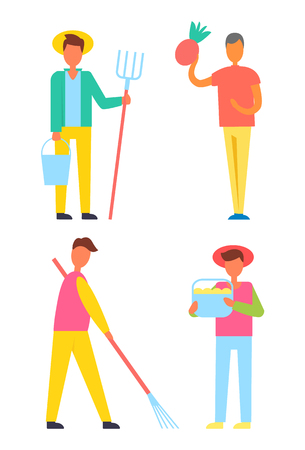 Farmers harvesting men set. People with buckets and hay-fork rake in hands working on land gather ripe vegetables and fruits. Farming person vector Stock Illustratie