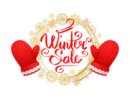 Winter sale poster with wreath made of snowflakes, knitted gloves in red and white color. Woolen mittens realistic outfit gauntlet, warm wintertime accessory Stock Vector - 124735040