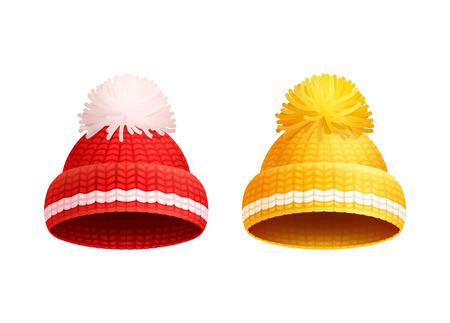 Sombrero de punto rojo y amarillo con iconos de vector de pom-pom blanco. Artículos de sombrerería cálidos, paño de invierno grueso hilo grueso de lana, tocados de ganchillo tejidos a mano