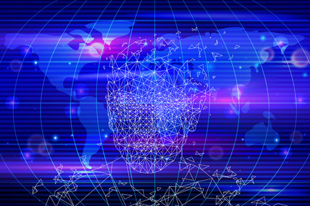Artificial intelligence, world map and person made of geometric shapes. New innovative cyberspace technology and computer mind, tech brain vector
