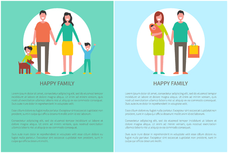 Family parents with daughter and sonnie. Son raising hands and girl playing with dog. Motherhood and fatherhood of people, happy couple vector Standard-Bild - 124735054