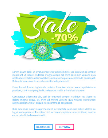 Sale discount offer spring proposition banner vector. Web page template, sticker with flower in bloom, text sample, brush style promotion posters
