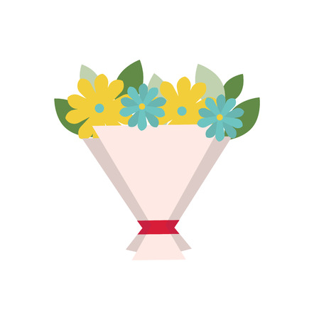 Ribbon on bouquet wrapping vector, isolated icon of blue and yellow flowers. Gift on special occasion, greeting on 8 march, botanical leafy present