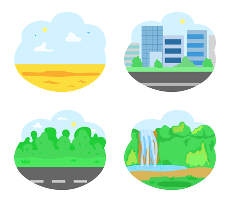 Destinations for tourist exploration in summer vector. Desert and road with greenery, city with skyscrapers, city architecture and pristine nature