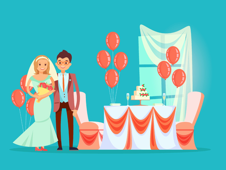 Wedding reception vector, marriage celebration of couple in restaurant. Bride and groom with flower bouquet, cake dessert with strawberries cream Illustration