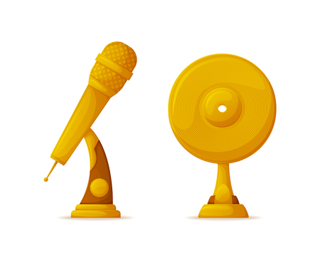 Microphone and vinyl disc shape gold trophy cups vector. Music award or reward isolated object, musical art contest or competition, best song record